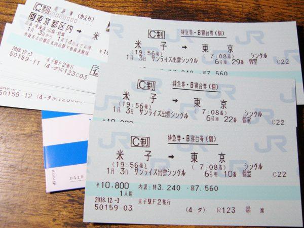 米子 東京 サンライズ出雲